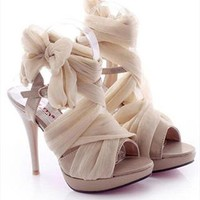 High Heel Chiffon Lace Up Sandals for Women Beige MKV061626