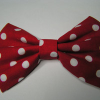 Red and White polka dot hair bow, girls hair bow, fabric hair bow, bow , bows