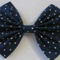 Dark Blue and small white polka dots Hair Bow for Teens and Women, Hair bows for teens, hair bow for women,fabric bows,cotton bows