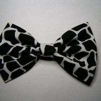 Black and White giraffe design fabric hair bow, Fabric Bow, Hair Bow for Girls, Bows, Teal and White hair bow