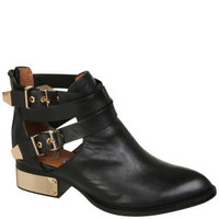 JEFFREY CAMPBELL EVERLY BUCKLE LEATHER ANKLE BOOTS - BLACK