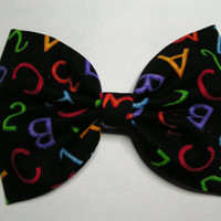 ABC's print Hair Bow ,  Blue hair bow , Hair Bow for teens and women, Kids hair bows