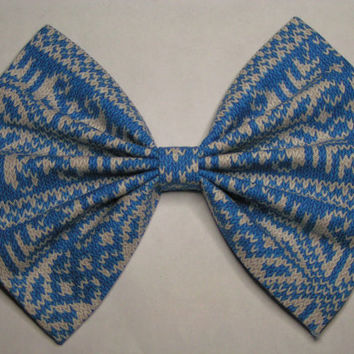 Blue and White Fabric Hair Bow, Bows for women teens and kids, Hair Bows, Fabric Bows, Hair Clips, Big bows