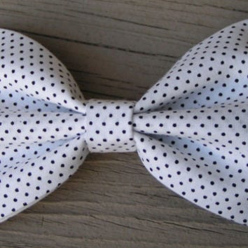 White and Small Black polka dot fabric Hair Bow large, Polka Dot hair bow, Large Hair Bow for teens and women, Kids hair bows