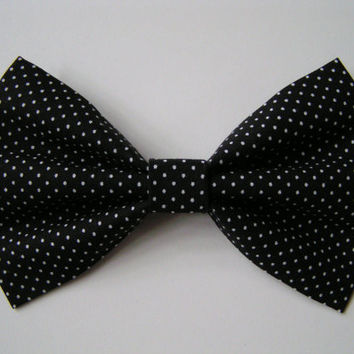 Black and tiny white polka dots Hair Bow for kids adults, Fabric Hair Bows, Hair Bows for teens, big red bow
