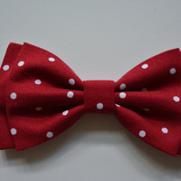 Hair Bow - Red and White Polkadots hair bow, Hair Bows,Fabric bows,hairbow, hairbows for girls, Bows for women, bow bows
