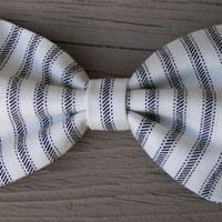 Black and White Stripe fabric Hair Bow large,Stripe hair bow, Large Hair Bow for teens and women, Kids hair bows
