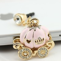 Bee&rose New Cinderella's Pumpkin Carriage Design 3.5mm Earphone Jack Dustproof Plug Ear Dust Cap for Iphone 4, 4s ,5, 5s ,Samsungi9100,i9300,i9500,galaxy S3/4 Note N7100,htc,nokia Lumia 920,sony, Blackberry,motorola ,Lg,lenovo, Ipod Touch / Ipad and Any 3