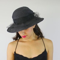 Vintage 1950s Black Fedora Sun Hat - Netted Veil Wide Brim Fashion Accessory / Miss Bierner