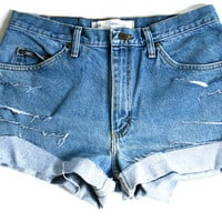 Distressed Lee High Waisted Denim Shorts