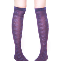 K. Bell Floral Bliss Knee Socks - Purple
