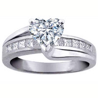 Engagement Ring - Heart Diamond Bridge Engagement Ring in 14K White Gold 0.62 tcw. - ES296HSWG