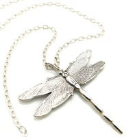 Silver Dragonfly Pendant, Dragonfly Necklace, Large Silver Pendant, Sterling Silver, Long Silver Necklace, Dragon Fly Jewelry, Etched Silver