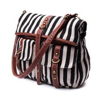 Womens Fold Over Stripe Handbag, Black White | Journeys Shoes