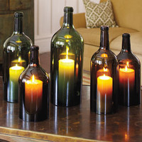 """Big Bottle"" Wine Hurricanes - Outdoor Lighting & Candlelight - Home & Garden - NapaStyle"
