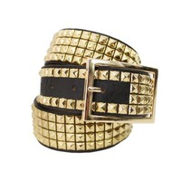 Doublju Mens Casual Gold Studded Leather Belt (037D)