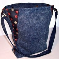 Stonewashed Denim Tote Bag with Ladybugs Blue Red Tan Crossbody Bag