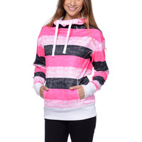 Empyre Girls Isabel Pink Stripe Pullover Tech Fleece Jacket at Zumiez : PDP