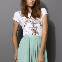 White Short Sleeve Top with Sequin Baroque Front Detail