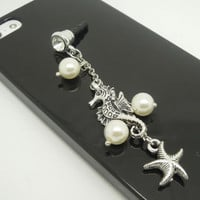 Teacher Gift 1PC Retro Alloy Plated Silver Seahorse Sea Star Pearl Earphone Charm Cap Anti Dust Plug for iPhone 5, iPhone 4, Samsung S3