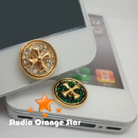 1PC Paved Bling Crystal Cross Apple iPhone Home Button Sticker for iPhone 4,4s,4g, iPhone 5, iPad, Cell Phone Charm, 2 Color Choice