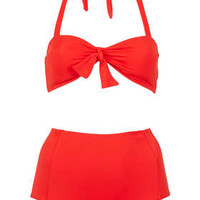 Red Bandeau High Waist Bikini - Bikini Sets - Swimwear  - Clothing