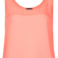 Sheer Panel Crop Vest - Tops - Clothing - Topshop USA