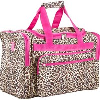 """Leopard Print with Hot Pink Trim Duffle Carrying Travel Bag - 19"""""""