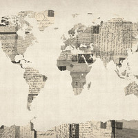 Map of the World Map from Old Postcards Art Print by ArtPause