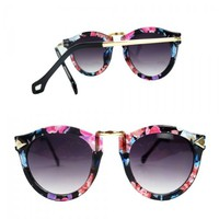 ZLCY Impression Flower Printed Frame Sunglasses