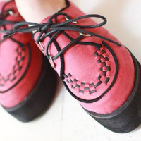 Women Lace-up Snake Vintage Flat Platform Oxford Shoes Comfy Casual Loafers 1k5