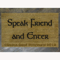 NO COMMAS LOTR Tolkien - Speak Friend and Enter-  Hobbit doormat geek stuff