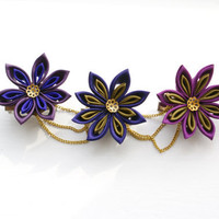 Japanese Steampunk Kanzashi Hair Clip Brooch Pin by cuttlefishlove
