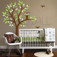 Owl on Tree  089  Vinyl Sticker Wall Decal by NouWall