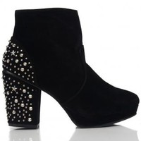 Black Ankle Boots with Studded Heels