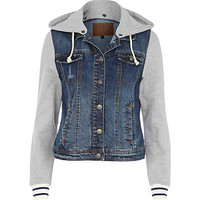 Blue jersey sleeve hooded denim jacket - denim jackets - coats / jackets - women