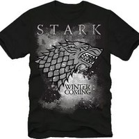 The Game of Thrones Stark Winter Is Coming Adult Black T-shirt - Game Of Thrones - | TV Store Online