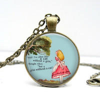 Alice Quote Necklace Glass Art Pendant Picture by Lizabettas