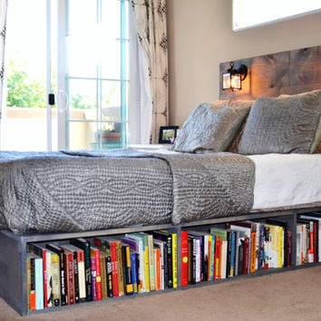 Platform Bed with Headboard and Bookshelf