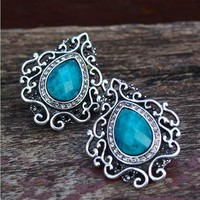 Vintage Facet Blue Gem Drop Shape Earrings 780 from topsales