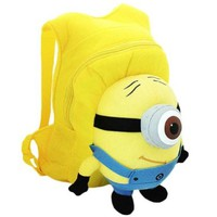 Despicable Me 3d Eyes Minion Cute Stuart Soft Plush Doll School Backpack Bag (Buy Reward: 1pcs Littlest Pet Shop Bird Rare Figure):Amazon:Toys & Games