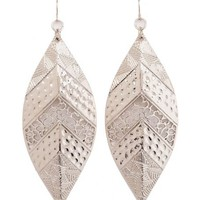 Textured Metallic Leaf Earrings: Charlotte Russe