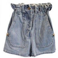 High Elastic Waist Denim Shorts with Leopard Head Decoration