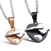Matching Heart Pendants for Couples Gold Plated Personalized Couples Gifts | His Her Necklaces and Bracelets | Engraved Wedding Rings | Couples Clothing