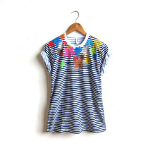 Flower Power - HAND STENCILED Striped Rolled Cuffs Womesn Tee in Navy White and Muti Rainbow - S M L XL 2XL