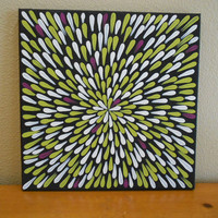 Painting Green and White Flower Aboriginal Inspired 12 by Acires
