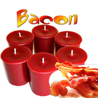 6 Bacon Votive Candles Smoky Meat Scent