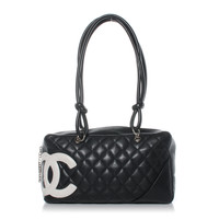 CHANEL Cambon Ligne Quilted Large Bowler Black