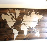World map Sign, Custom Sign, Wooden Sign, Wall Art, Handmade Sign
