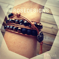 Leather Wrap - Black and Copper - Bracelet